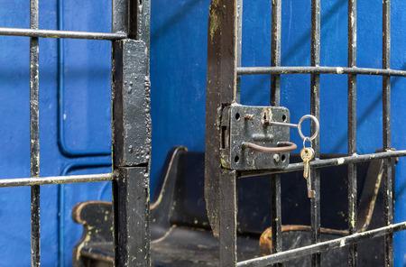 escape key: Open the prison door lock close up Stock Photo