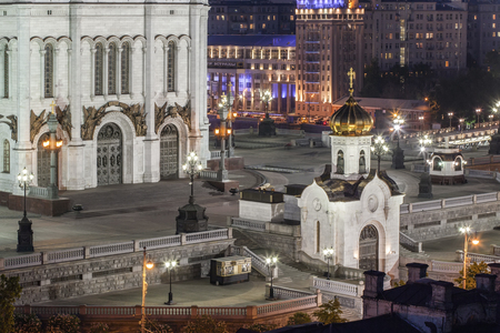 russian orthodox: Russian Orthodox Church at night Stock Photo