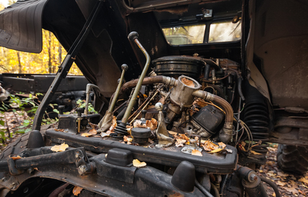 compartment: Old truck gear lever. Broken engine compartment