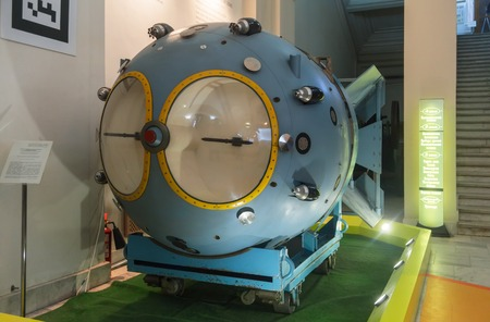 nuclear bomb: MOSCOWRUSSIA - JANUARY 2013, the Polytechnic Museum; The first Soviet Nuclear bomb RDS-1