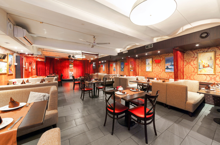 sutra: MOSCOWRUSSIA - DECEMBER 2014. Interior Indian modern art cafe SUTRA. Editorial