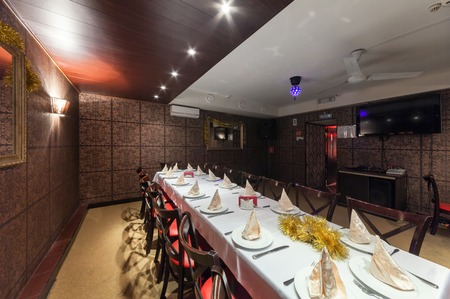 banqueting: MOSCOWRUSSIA - DECEMBER 2014. Interior Indian modern art cafe SUTRA. Banqueting hall