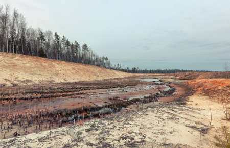 sand quarry: Landscape old waterlogged sand quarry. Environmental pollution Stock Photo