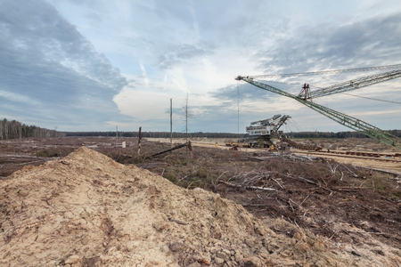 felling: Felling forests near the sand pit. Technology for the development of career