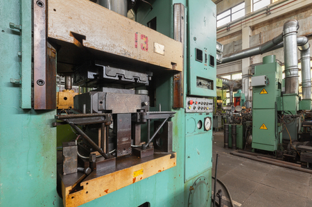 Hydraulic press close-up. Machinery plant. Stok Fotoğraf