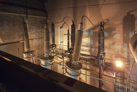 powerhouse: Giant insulators for switchgear in the powerhouse Stock Photo