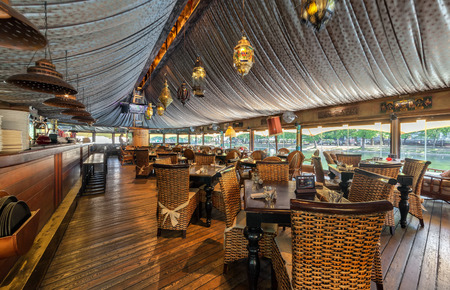 MOSCOW - JULY 2014: The interior of the restaurant on the water SHATER in the Oriental style Editorial