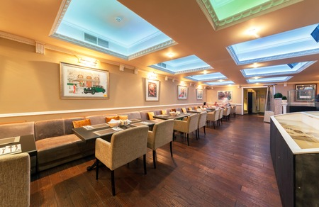 mediterranean interior: MOSCOW - JULY 2014: Interior of stylish Mediterranean cuisine Italian restaurant - SILLYCAT. Catering Facilities