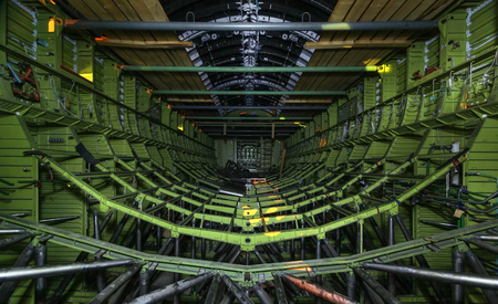 orbital spacecraft: Inside the unfinished soviet space shuttle. The metal frame of the cargo hold Stock Photo