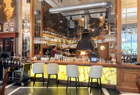 moscow: MOSCOW - JULY 2014: Interior of a luxury restaurant in the art deco style - NOSTALGIE Large bar with kitchen