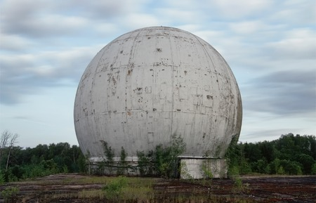 bugging: Old giant dome of a radar antenna of a Russian military base