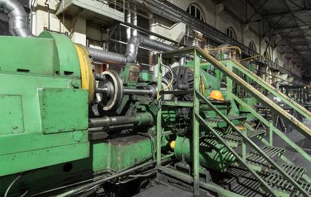 metal working: Railway wheels subway train in metal working machine