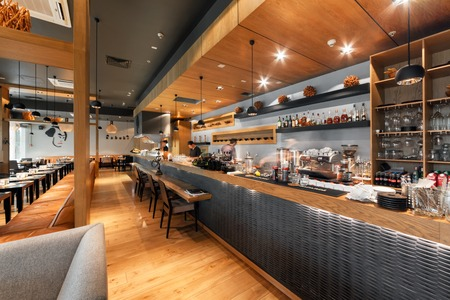 MOSCOW - AUGUST 2014: Interior of a Japanese restaurant bar and lounge KABUKI. Large modern open kitchen in the main hall