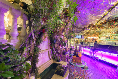 MOSCOW - AUGUST 2014: Vintage interior of the restaurant of French cuisine Chateau de Fleurs.
