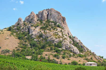 Old mountain Medovaya with vineyards at the foot of the mountain. The Crimean Peninsula Stock Photo