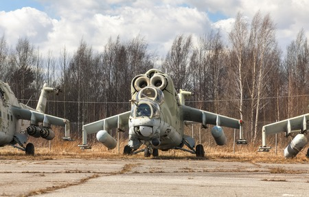 Abandoned broken Russian attack helicopter Stock Photo