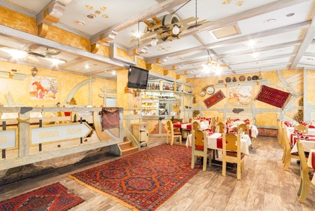 MOSCOW - AUGUST 2014: Interior of the restaurant