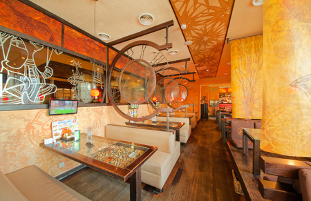 MOSCOW - SEPTEMBER 2014: The interior of the popular Japanese sushi restaurant