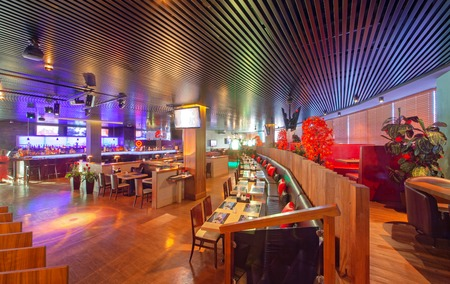 MOSCOW - SEPTEMBER 2014: The design of the stylish and modern interior of the Japanese restaurant