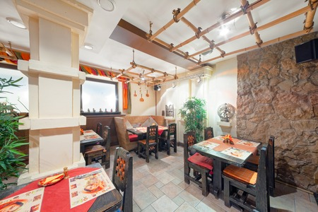 MOSCOW - SEPTEMBER 2014: Interior and furnishings of the restaurant of Indian cuisine