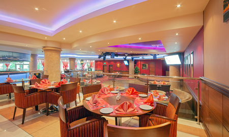 MOSCOW - SEPTEMBER 2014: Interior in modern style of the bar-restaurant FUSION PLAZA of Indian and European cuisine