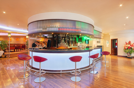 MOSCOW - SEPTEMBER 2014: Interior in modern style of the bar-restaurant