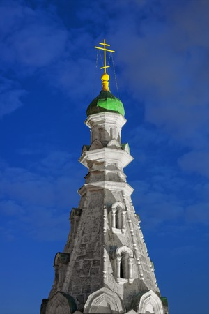 The spire of the 19th-century bell tower in the Russian-Byzantine style