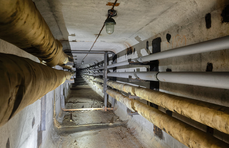 Underground concrete utility tunnel network of water supply pipeline