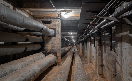 Underground utility tunnel network of water supply pipeline, heat pipeline and cable vault