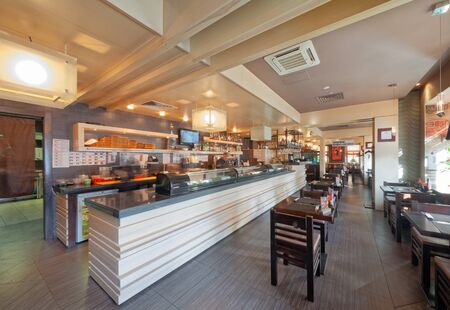 MOSCOW - SEPTEMBER 2014: The interior of the popular Japanese chain of restaurants