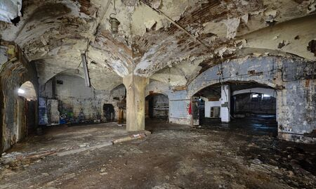 Interior of an abandoned underground wine cellar and warehouse of the 19th century. Peeling paint Zdjęcie Seryjne - 136678527
