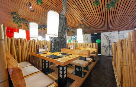 MOSCOW - SEPTEMBER 2014: Interior of the Japanese sushi restaurant chain