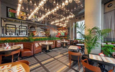 MOSCOW - OCTOBER 2014: The interior of the trendy restaurant