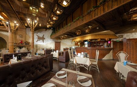 MOSCOW - OCTOBER 2014: The interior of the restaurant Georgian cuisine -