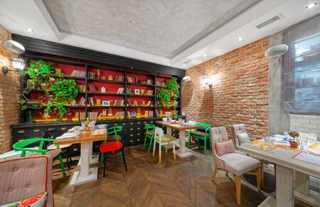 MOSCOW - OCTOBER 2014: The interior of the restaurant of Eastern European cuisine