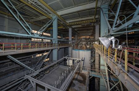 The interior of a closed waste incinerator plant. Huge units of the gas-cleaning system