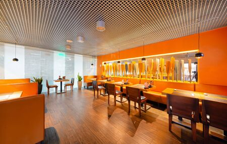 MOSCOW - SEPTEMBER 2014: The modern interior of the popular Japanese chain of restaurants in modern style