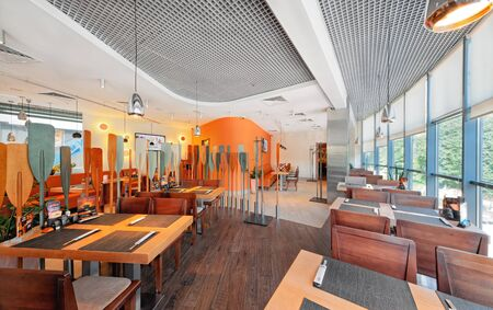 MOSCOW - SEPTEMBER 2014: The interior of the popular Japanese chain of restaurants in modern style