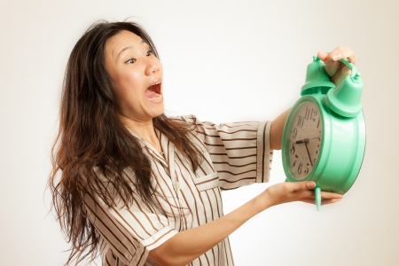 oversleep: Asian woman oversleep Stock Photo