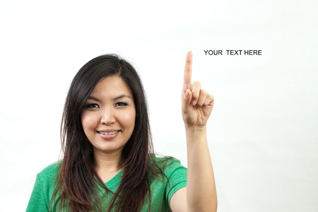 multi layered: Asian woman in green set, clicking a button or drawing lines