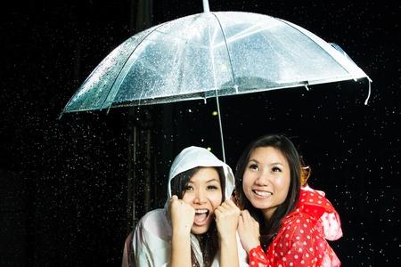 Asian women under the rain with rain coat and umbrella photo