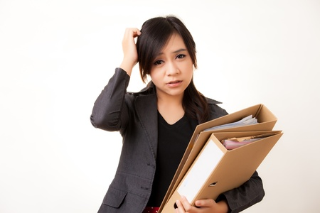 asian working woman: Beatiful Asian working woman Stock Photo
