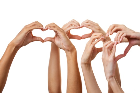 human's arm: Human hand love sign heart