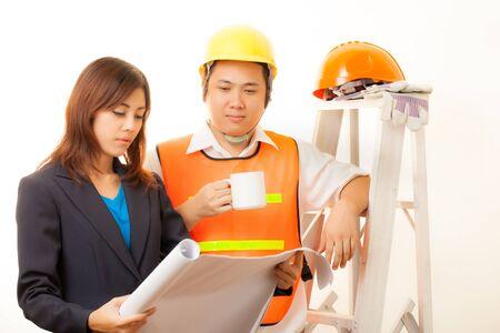 Asian engineer on isolated white background 版權商用圖片