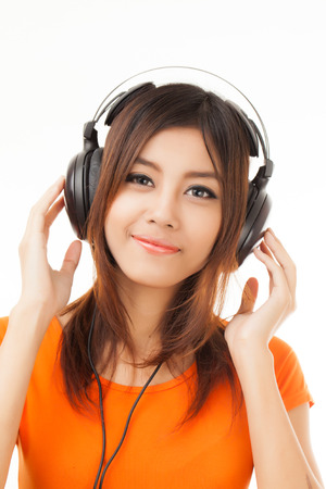 audiophile: Young Asian woman with a audiophile Headphone Stock Photo