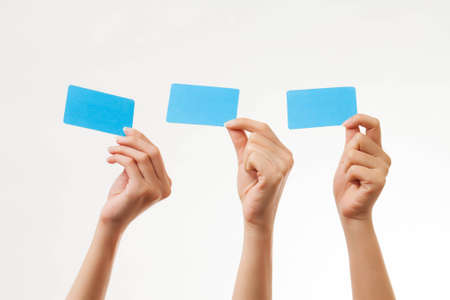 holding business card: Blank card, people holding card that can be replace with everything you want, name card sign etc... shoot on isolated white background Stock Photo