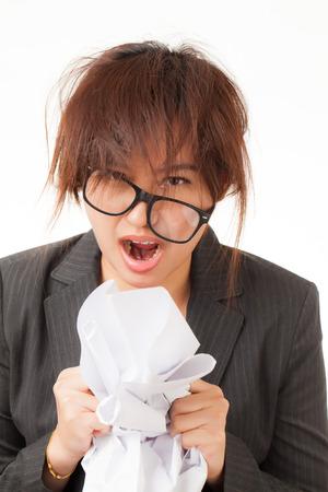 working woman: Bella donna che lavora asiatica su sfondo bianco