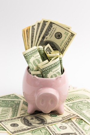 saving money in the piggy bank photo