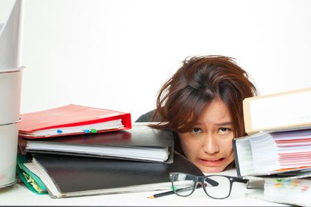 working hard: asian woman working hard  Stock Photo