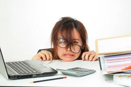 working hard: asian woman working hard
